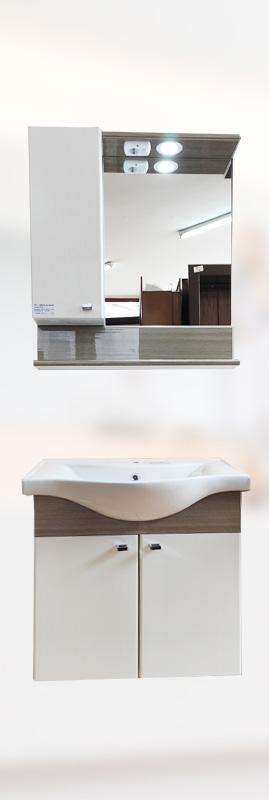 BRN-BA-3 Конзолен шкаф за баня с мивка 65см